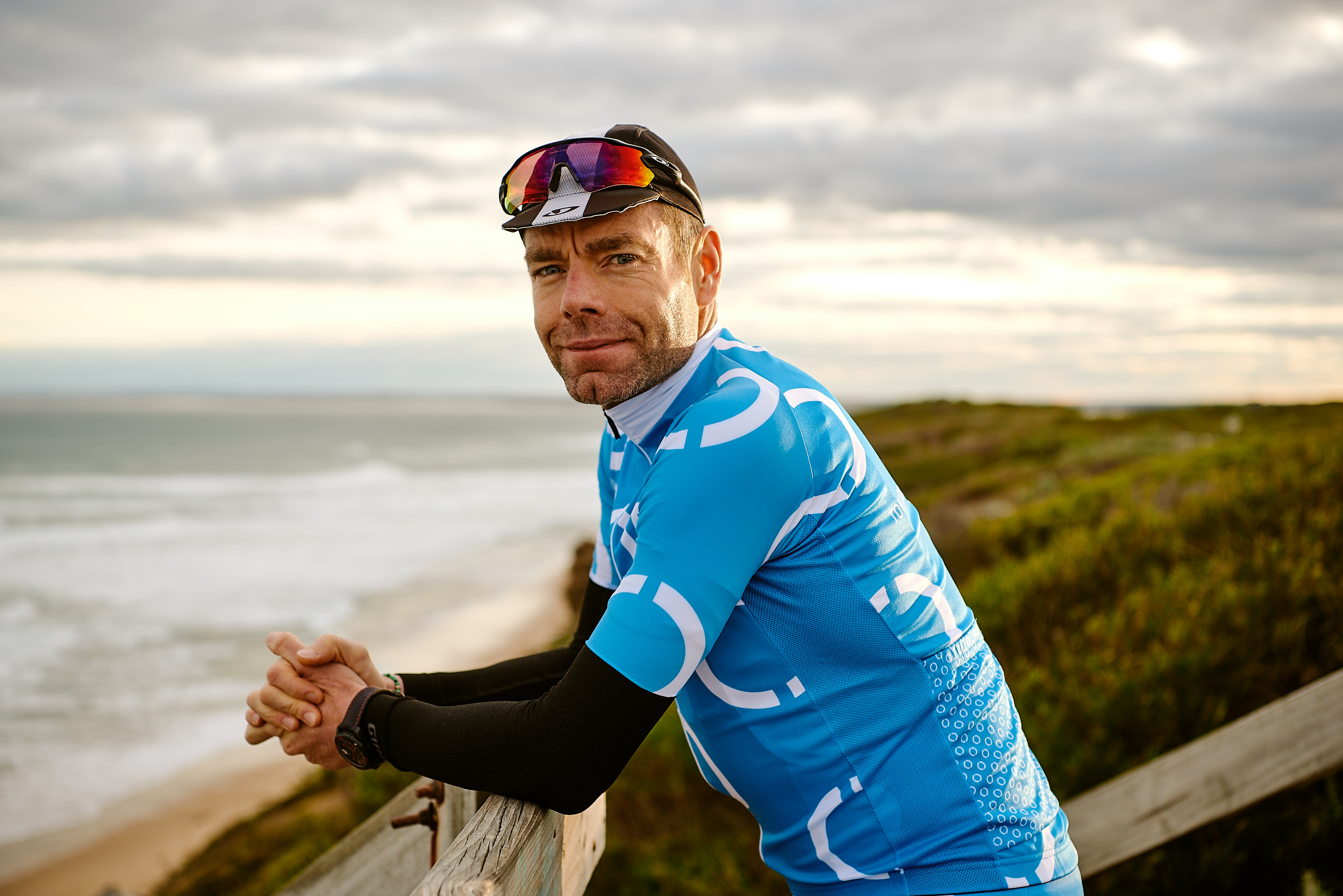 Cadel Evans at look out